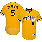 Majestic Men's Authentic Pittsburgh Pirates Josh Harrison #5 Alternate Gold Flex Base On-Field Jersey
