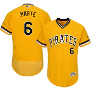 Majestic Men's Authentic Pittsburgh Pirates Starling Marte #6 Alternate Gold Flex Base On-Field Jersey