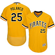 Majestic Men's Authentic Pittsburgh Pirates Gregory Polanco #25 Alternate Gold Flex Base On-Field Jersey