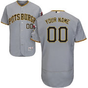Majestic Men's Custom Authentic Pittsburgh Pirates Flex Base Road Grey On-Field Jersey