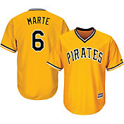 Majestic Men's Replica Pittsburgh Pirates Starling Marte #6 Cool Base Alternate Gold Jersey