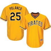 Majestic Men's Replica Pittsburgh Pirates Gregory Polanco #25 Cool Base Alternate Gold Jersey