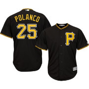 Majestic Men's Replica Pittsburgh Pirates Gregory Polanco #25 Cool Base Alternate Black Jersey