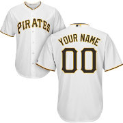 Majestic Men's Custom Cool Base Replica Pittsburgh Pirates Home White Jersey