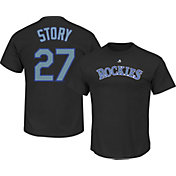 Majestic Men's Colorado Rockies Trevor Story #27 Black T-Shirt
