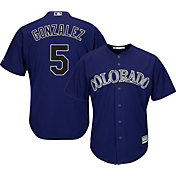 Majestic Men's Replica Colorado Rockies Carlos Gonzalez #6 Cool Base Alternate Purple Jersey
