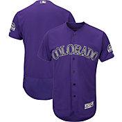 Majestic Men's Authentic Colorado Rockies Flex Base Alternate Purple On-Field Jersey