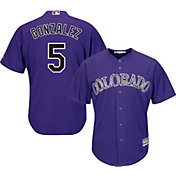 Majestic Men's Replica Colorado Rockies Carlos Gonzalez #5 Cool Base Alternate Purple Jersey