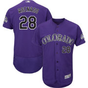 Majestic Men's Authentic Colorado Rockies Nolan Arenado #28 Flex Base Alternate Purple On-Field Jersey