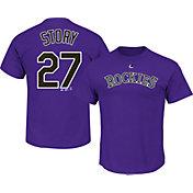 Majestic Men's Colorado Rockies Trevor Story #27 Purple T-Shirt