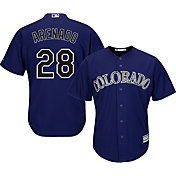 Majestic Men's Replica Colorado Rockies Nolan Arenado #28 Cool Base Alternate Purple Jersey