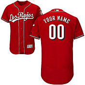 Majestic Men's Custom Authentic Cincinnati Reds Flex Base Alternate Los Rojos Red On-Field Jersey