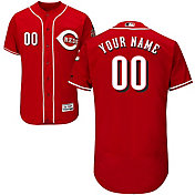 Majestic Men's Custom Authentic Cincinnati Reds Flex Base Alternate Red On-Field Jersey