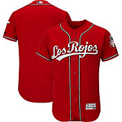 Majestic Men's Authentic Cincinnati Reds Alternate Los Rojos Red Flex Base On-Field Jersey