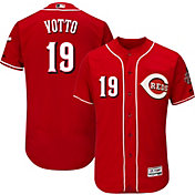 Majestic Men's Authentic Cincinnati Reds Joey Votto #19 Alternate Red Flex Base On-Field Jersey