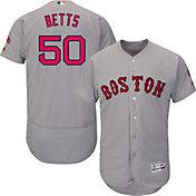 Majestic Men's Authentic Boston Red Sox Mookie Betts #50 Road Grey Flex Base On-Field Jersey