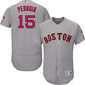 Majestic Men's Authentic Boston Red Sox Dustin Pedroia #15 Road Grey Flex Base On-Field Jersey