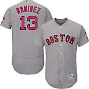 Majestic Men's Authentic Boston Red Sox Hanley Ramirez #13 Road Grey Flex Base On-Field Jersey