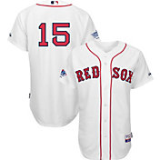 Majestic Men's Authentic Boston Red Sox Dustin Pedroia #15 Home White On-Field Jersey w/ World Series Champions Patch