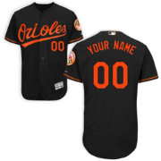Majestic Men's Custom Authentic Baltimore Orioles Flex Base Alternate Black On-Field Jersey