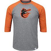 Majestic Men's Baltimore Orioles Cooperstown Grey/Orange Raglan Three-Quarter Sleeve Shirt
