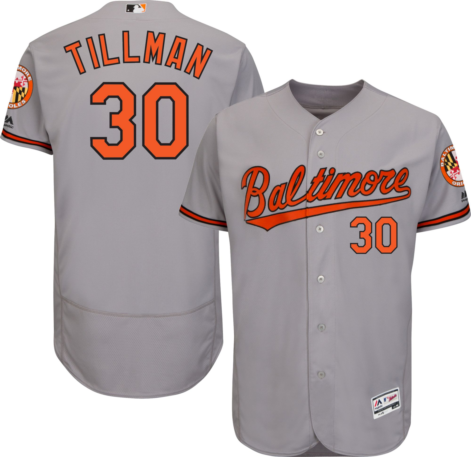 ce9ae45db45 Majestic Mens Authentic Baltimore Orioles Chris Tillman 30 Road Grey Flex Base  On-Field Jersey ...