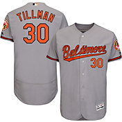 Majestic Men's Authentic Baltimore Orioles Chris Tillman #30 Road Grey Flex Base On-Field Jersey
