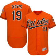 Majestic Men's Authentic Baltimore Orioles Chris Davis #19 Alternate Orange Flex Base On-Field Jersey