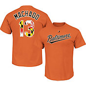Majestic Men's Baltimore Orioles Manny Machado #13 Orange State Flag T-Shirt