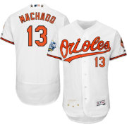 Majestic Men's Authentic Baltimore Orioles Manny Machado #13 Home White Flex Base On-Field Jersey w/ 2016 ASG Patch