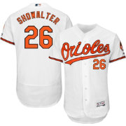 Majestic Men's Authentic Baltimore Orioles Buck Showalter #26 Home White Flex Base On-Field Jersey
