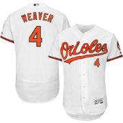Majestic Men's Authentic Baltimore Orioles Earl Weaver #4 Home White Flex Base On-Field Jersey