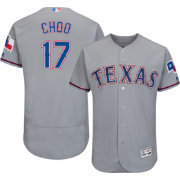 Majestic Men's Authentic Texas Rangers Shin-Soo Choo #17 Road Grey Flex Base On-Field Jersey