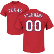 Majestic Men's Custom Texas Rangers Red T-Shirt