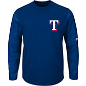 Majestic Men's Texas Rangers Therma Base Royal Authentic Collection Pullover Tech Fleece