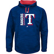Majestic Men's Texas Rangers Therma Base On-Field Royal Authentic Collection Pullover Hoodie
