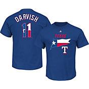 Majestic Men's Texas Rangers Yu Darvish #11 Royal State Flag T-Shirt