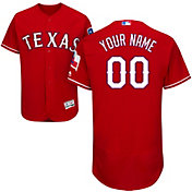 Majestic Men's Custom Authentic Texas Rangers Flex Base Alternate Red On-Field Jersey