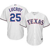 Majestic Men's Replica Texas Rangers Jonathon Lucroy #25 Cool Base Home White Jersey