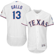 Majestic Men's Authentic Texas Rangers Joey Gallo #13 Home White Flex Base On-Field Jersey