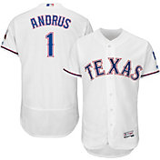 Majestic Men's Authentic Texas Rangers Elvis Andrus #1 Home White Flex Base On-Field Jersey
