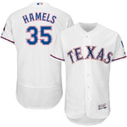 Majestic Men's Authentic Texas Rangers Cole Hamels #35 Home White Flex Base On-Field Jersey