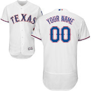 Majestic Men's Custom Authentic Texas Rangers Flex Base Home White On-Field Jersey