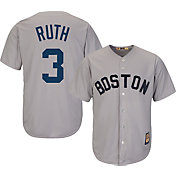 Majestic Men's Replica Boston Red Sox Babe Ruth Cool Base Grey Cooperstown Jersey