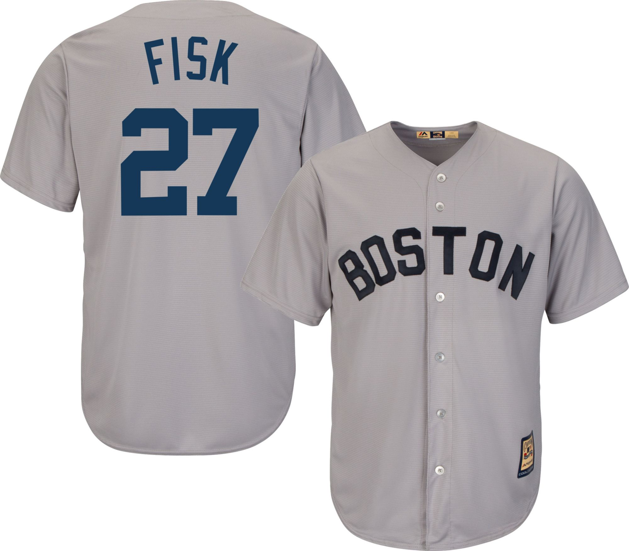 f503bccd mens boston red sox carlton fisk majestic gray cool base cooperstown  collection player jersey