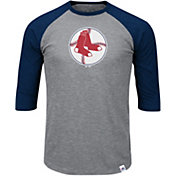 Majestic Men's Boston Red Sox Cooperstown Grey/Red Raglan Three-Quarter Sleeve Shirt