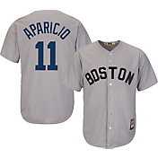 Majestic Men's Replica Boston Red Sox Luis Aparicio Cool Base Grey Cooperstown Jersey