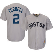Majestic Men's Replica Boston Red Sox Rick Ferrell Cool Base Grey Cooperstown Jersey