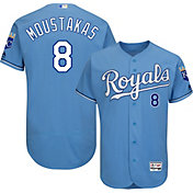 Majestic Men's Authentic Kansas City Royals Mike Moustakas #8 Alternate Light Blue Flex Base On-Field Jersey