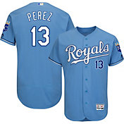 Majestic Men's Authentic Kansas City Royals Salvador Perez #13 Alternate Light Blue Flex Base On-Field Jersey